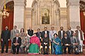 Pranab Mukherjee with the awardees of the First Visitors Award-2015, at Rashtrapati Bhavan, in New Delhi. The Union Minister for Human Resource Development, Smt. Smriti Irani and other dignitaries are also seen.jpg