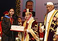 Pratibha Devisingh Patil presenting certificate at the 29th convocation of Kurukshetra University, in Haryana. The Governor of Haryana and Chancellor of Kurukshetra University, Shri Jagannath Pahadia is also seen.jpg