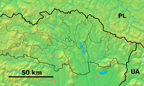 Map showing the location of Stužica