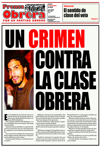 "Murder of Mariano Ferreyra - Prensa Obreras front page in the edition of October 21. It says: ""A crime against working class"""