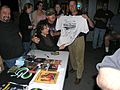 Presenting Stan a Hobo Times T-shirt signed by the CombatRailfans. (3709815317).jpg