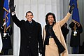 President-elect Barack Obama and Michelle Obama wave to the crowd gathered at the Lincoln Memorial on the National Mall in Washington, D.C., Jan. 18, 2009.jpg