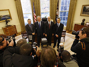 Paul Krugman - President George W. Bush poses for a photo with Nobel Prize winners Monday, Nov. 24, 2008, in the Oval Office. Joining President Bush from left are, Dr. Paul Krugman, Economics Prize Laureate; Dr. Martin Chalfie, Chemistry Prize Laureate; and Dr. Roger Tsien, Chemistry Prize Laureate.