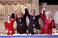 President Ronald Reagan and Vice President George Bush, accompanied by wives Nancy and Barbara, join hands after the President endorses Bushes run for the Presidency during the President's dinner, Washington, DC.jpg