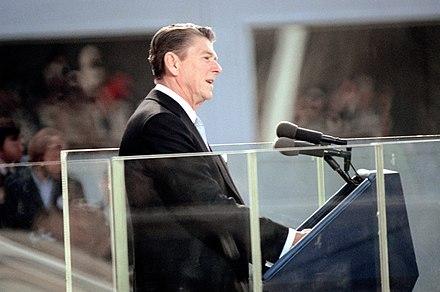 dd76422da6c Former U.S. President Ronald Reagan in a stroller at his first presidential  inauguration in 1981