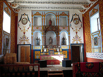 Presidio of Santa Barbara - Interior of the reconstructed chapel.