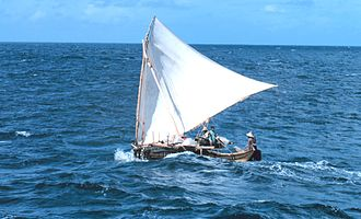 Crab claw sail - Micronesian proa with crab claw sail