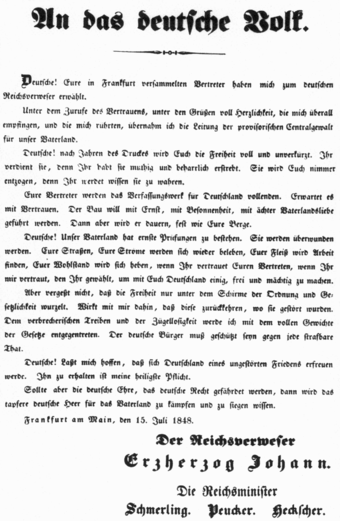 John's proclamation to the German people of July 15, 1848 after provisionally taking central control Proklamation-Reichsverweser-1848.png