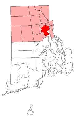 Location of Providence in Providence County, Rhode Island.
