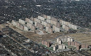 Public housing in the United States - Designed by Minoru Yamasaki, Pruitt and Igoe consisted of the thirty-three buildings pictured. Dramatic images of its demolition made newspapers across the country.