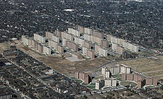 Spatial mismatch - Urban redevelopment projects such as Pruitt–Igoe in St. Louis concentrated and separated workers from their surroundings and work. Such projects created a ghettoized underclass in America.