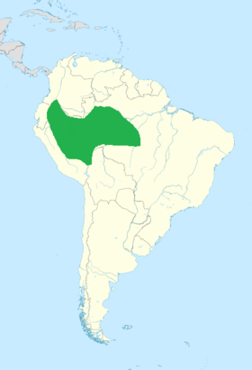 Green marking the range of the purple-throated cotinga