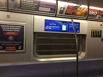 R160 (New York City Subway car) - An experimental LCD screen in place of the Arts for Transit card