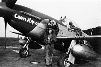 """RAF Bodney - Ground crew in front of P-51 Mustang (PE-P, serial number 44-14906), named """"Cripes A' Mighty"""" and flown by Major George E. Preddy Jr. of the 328th Fighter Squadron, 352nd Fighter Group. 1944."""