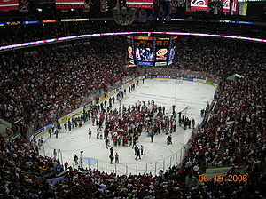 Carolina Hurricanes - The Hurricanes celebrate following their game seven victory in the 2006 Stanley Cup Finals.