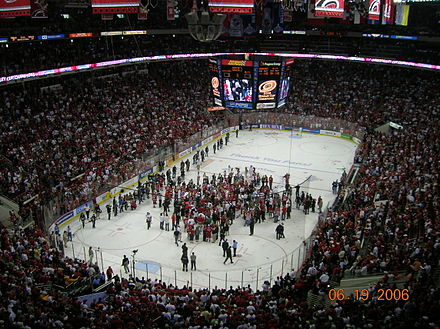 The Hurricanes celebrate following their game seven victory in the 2006 Stanley Cup Finals. RBC Center Stanley Cup Championship.jpg