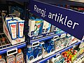 REMA 1000 rengjøringsmidler Nylonvask - supermarket interior aisle shelves cleaning products - Tønsberg Norway 2017-11-03 c.jpg