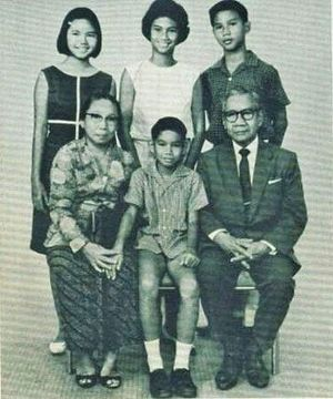 Prabowo Subianto - Prabowo, 12 years old (standing right), with his siblings and grandparents, Margono Djojohadikusumo and Siti Katoemi Wirodihardjo