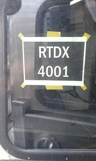 Reporting mark - A temporary window sign with RTDX markings