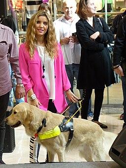 Rachael Leahcar with guide dog Ella