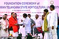 Radha Mohan Singh being felicitated by the Chief Minister of Telangana, Shri K. Chandrashekar Rao at the foundation ceremony of Shri Konda Laxman Telangana State Horticulture University, at Mulugu village (Medak District).jpg
