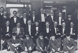 Brian Howard (poet) - Railway Club at Oxford, conceived by John Sutro, dominated by Harold Acton. Left to right, back: Henry Yorke, Roy Harrod, Henry Weymouth, David Plunket Greene, Harry Stavordale, Brian Howard. Middle row: Michael Rosse, John Sutro, Hugh Lygon, Harold Acton, Bryan Guinness, Patrick Balfour, Mark Ogilvie-Grant, Johnny Drury-Lowe; front: porters.