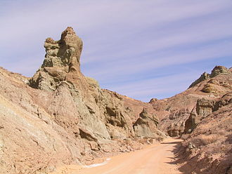 """Rainbow Basin - Some of the eroded """"Badlands"""" topography of Rainbow Basin."""