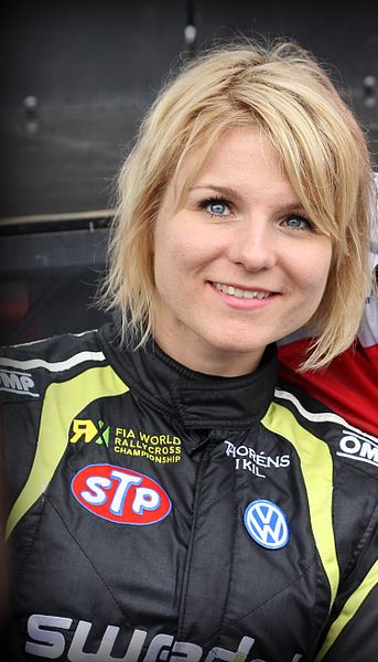 Swedish rallycross driver Ramona Karlsson at Round 1 of the 2015 FIA European Rallycross Championship at Circuit Jules Tacheny, Belgium.