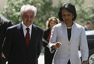 Rangin Dadfar Spanta - Rangin Dadfar Spanta with United States Secretary of State Condoleezza Rice in June 2006.