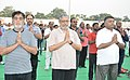 Ravi Shankar Prasad, the Minister of State for Rural Development, Shri Ram Kripal Yadav and the Deputy Chief Minister of Bihar, Shri Sushil Modi perform Yoga, on the occasion of the 4th International Day of Yoga 2018.JPG