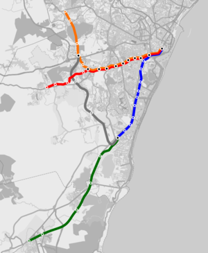 Recife Metro - Map of the network, including the light rail line. At the time of the map, Cosme e Damião station was still under construction.