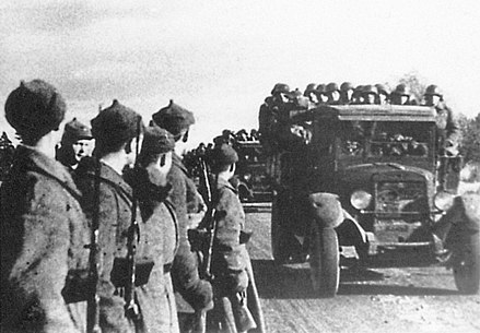 The Red Army entering Estonia in 1939 after Estonia had been forced to sign the Bases Treaty Red Army entering into Estonia in 1939.jpg