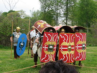 Heavy infantry - Roman re-enactors demonstrate a variant of the Roman testudo formation