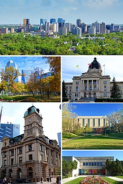 From top to bottom; left to right: Downtown, Victoria Park, Saskatchewan Legislative Building, Prince Edward Building, Dr. John Archer Library and the Royal Saskatchewan Museum