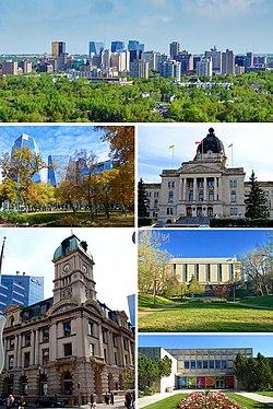 De arriba a abajo;  De izquierda a derecha: Centro, Victoria Park, Edificio Legislativo de Saskatchewan, Edificio Prince Edward, Biblioteca Dr. John Archer y Museo Real de Saskatchewan