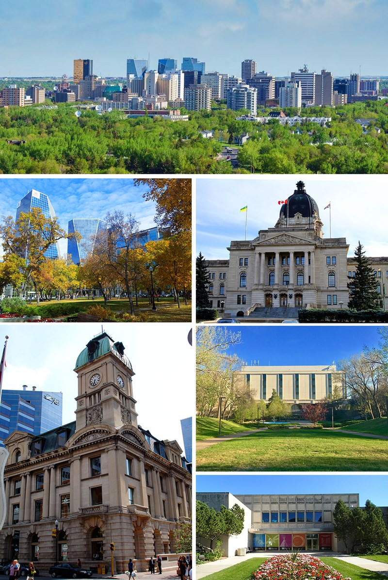 From top to bottom; left to right: Downtown, Victoria Park, Saskatchewan Legislative Building, Prince Edward Building, Dr. John Archer Library and the Royal Saskatchewan Museum