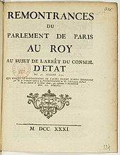 Remontrances du Parlement de Paris au Roy - 1731.jpeg