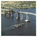 Repair of Tasman Bridge in colour looking from West to East (1976) (16014723680).jpg