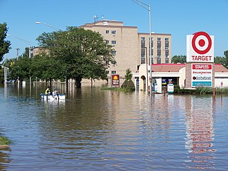 Munster, Indiana - Residents boat down Calumet Avenue following the impact of Hurricane Ike.