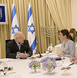 Ayelet Shaked - Ayelet Shaked with Reuven Rivlin, President of Israel in consultations after the elections, 23 March 2015