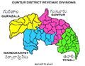 Revenue divisions map of Guntur district.png