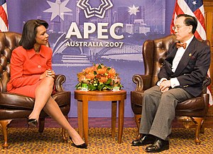 Donald Tsang - Donald Tsang meeting with US Secretary of State Condoleezza Rice at the APEC Australia 2007.