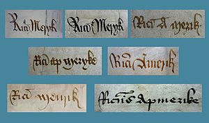 Richard Amerike - Variants of Richard Ap Meryk's name as found in contemporary documents