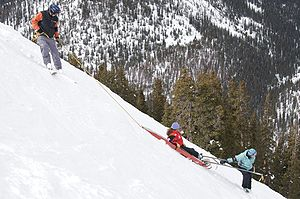 Mountain rescue - Lowering a litter on a steep slope (training)