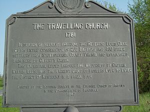 "The Travelling Church - Roadside memorial for ""The Travelling Church, 1781"" by the National Society of the Colonial Dames of America."