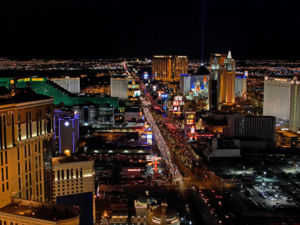 A similar view of the Strip at night