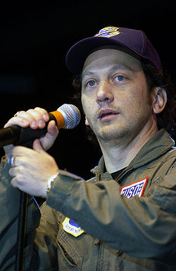 Rob Schneider performing at a 2001 USO show.