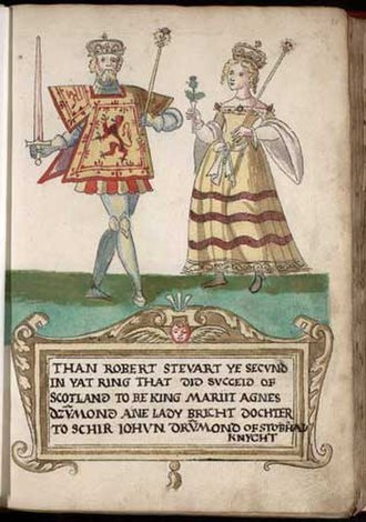 Robert III of Scotland - Robert III and Annabella Drummond (1562 illustration)