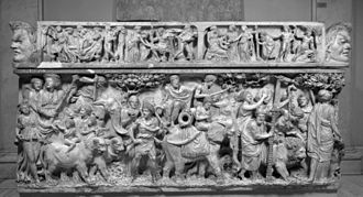 Dionysiaca - The triumph of Dionysus, depicted on a 2nd-century Roman sarcophagus. Dionysus rides in a chariot drawn by panthers; his procession includes elephants and other exotic animals.