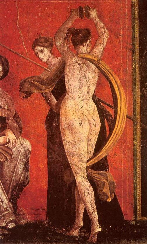 Roman fresco Villa dei Misteri Pompeii - detail with dancing menad